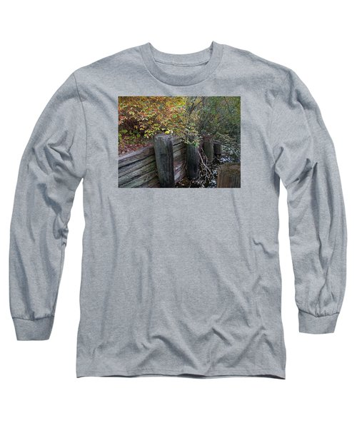 Weathered Wood In Autumn Long Sleeve T-Shirt by Cedric Hampton