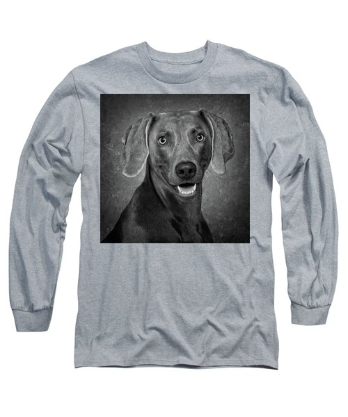 Weimaraner In Black And White Long Sleeve T-Shirt by Greg Mimbs