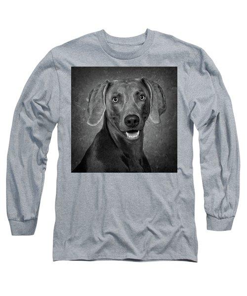 Weimaraner In Black And White Long Sleeve T-Shirt
