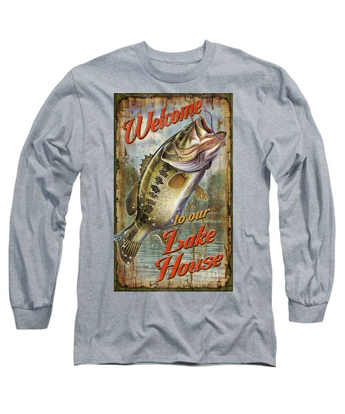 Welcome Lake House Sign Long Sleeve T-Shirt by Jon Q Wright