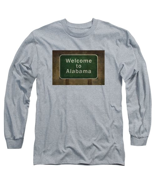 Long Sleeve T-Shirt featuring the digital art Welcome To Alabama Roadside Sign Illustration by Bruce Stanfield