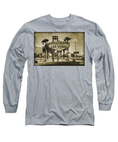Welcome To Las Vegas Series Sepia Grunge Long Sleeve T-Shirt