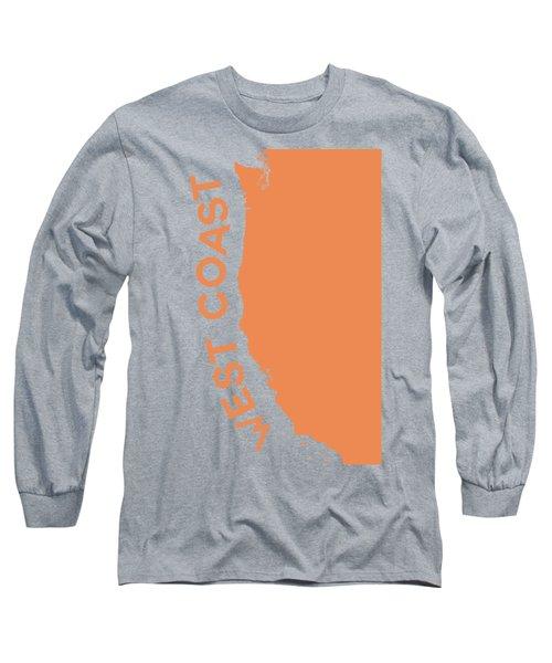 West Coast Pop Art - Crusta Orange On Judge Grey Brown Long Sleeve T-Shirt
