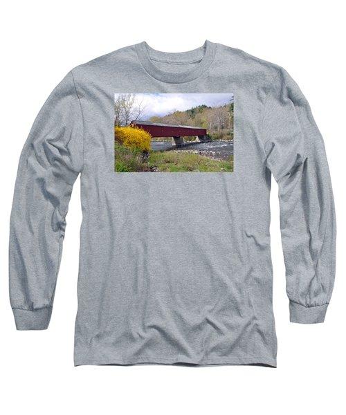West Cornwall Ct Covered Bridge Long Sleeve T-Shirt by Glenn Gordon