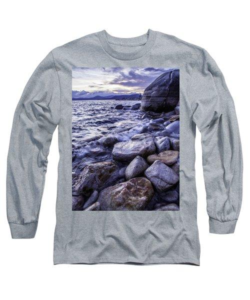 Wet Rocks At Sunset Long Sleeve T-Shirt