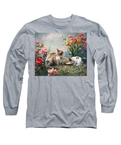 What A Girl Kitten Wants Long Sleeve T-Shirt by Svitozar Nenyuk