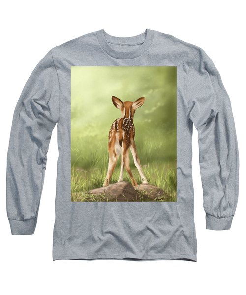 Long Sleeve T-Shirt featuring the painting Where Is My Mom? by Veronica Minozzi