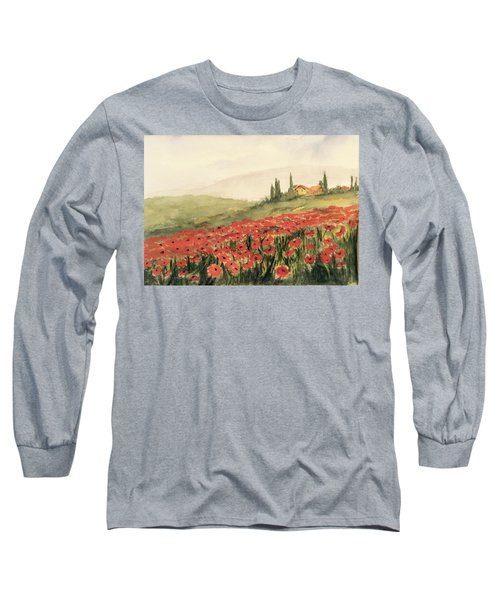 Where Poppies Grow Long Sleeve T-Shirt by Heidi Patricio-Nadon