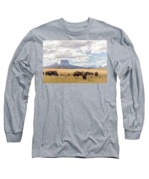 Where The Buffalo Roam Long Sleeve T-Shirt by Alex Lapidus