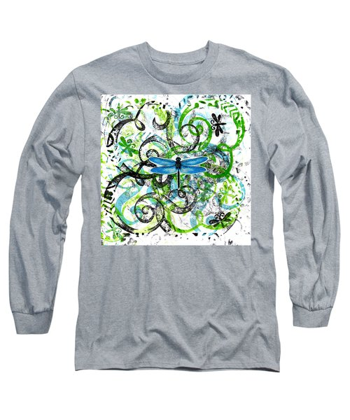 Whimsical Dragonflies Long Sleeve T-Shirt by Genevieve Esson