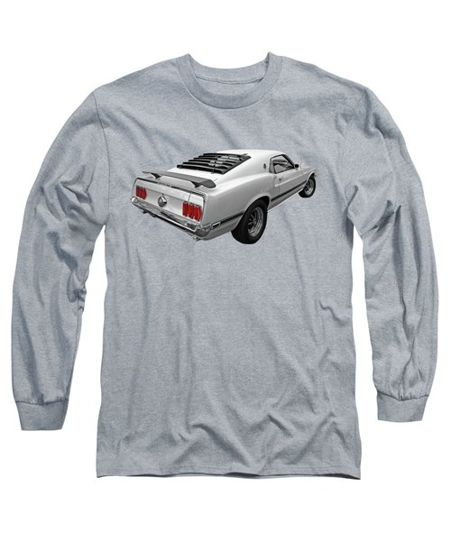 White '69 Mach 1 In Black And White Long Sleeve T-Shirt