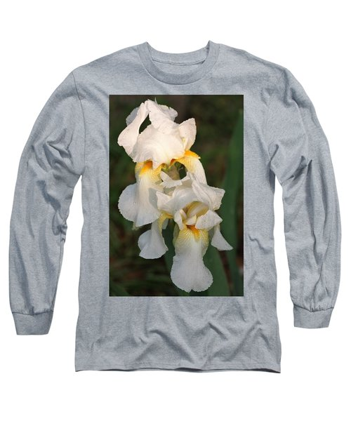 Long Sleeve T-Shirt featuring the photograph Two White Bearded Iris At Dusk by Sheila Brown