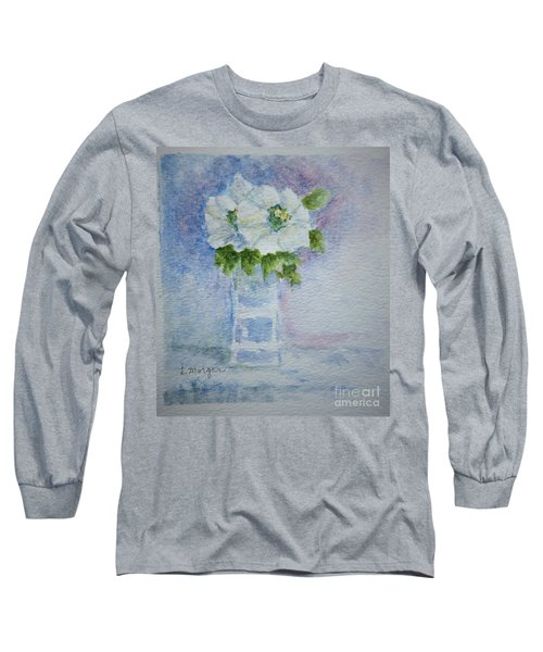 White Blooms In Blue Vase Long Sleeve T-Shirt