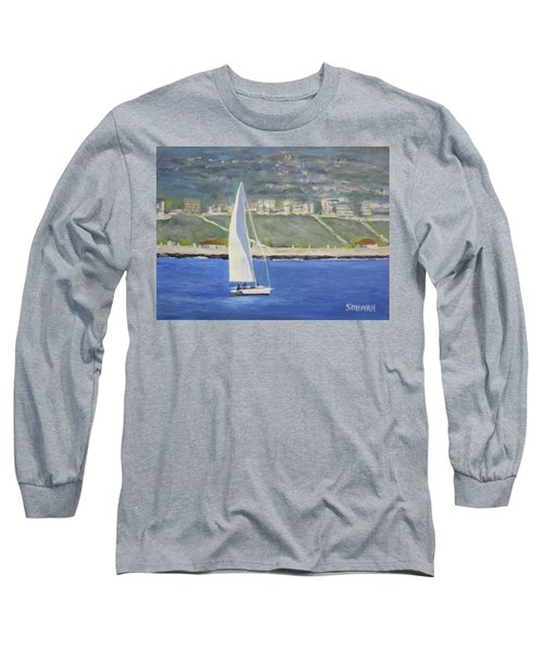 White Boat, Blue Sea Long Sleeve T-Shirt