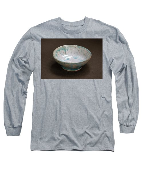 White Ceramic Bowl With Turquoise Blue Glaze Drips Long Sleeve T-Shirt by Suzanne Gaff