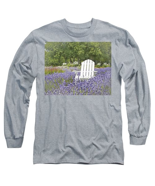 Long Sleeve T-Shirt featuring the photograph White Chair In A Field Of Lavender Flowers by Brooke T Ryan