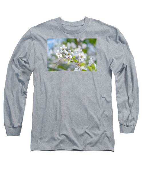 Long Sleeve T-Shirt featuring the photograph White Cherry Blossoms In Spring by Alexander Senin