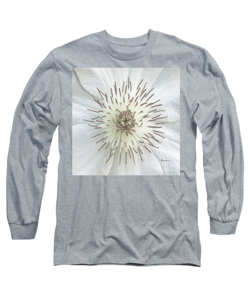 White Clematis Flower Macro 50121c Long Sleeve T-Shirt