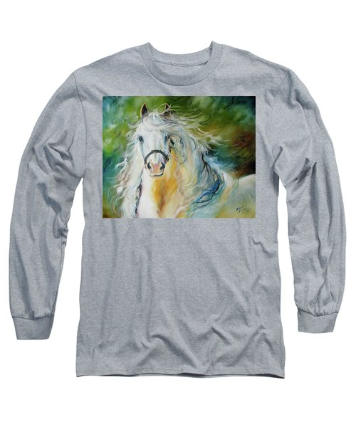 White Cloud The Andalusian Stallion Long Sleeve T-Shirt by Marcia Baldwin