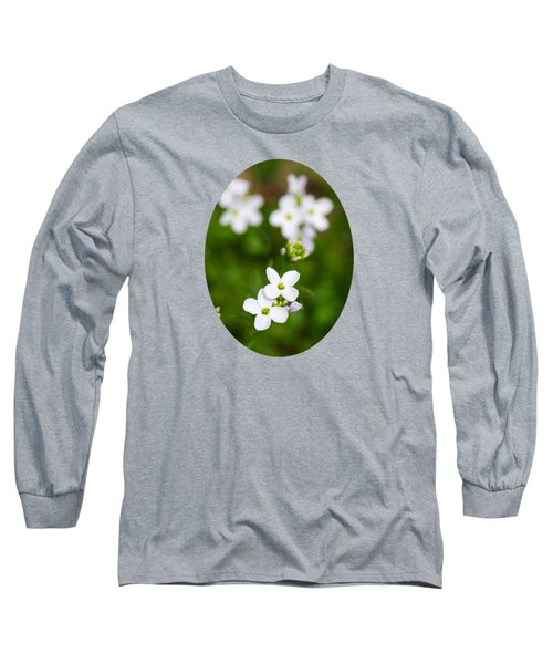 White Cuckoo Flowers Long Sleeve T-Shirt by Christina Rollo