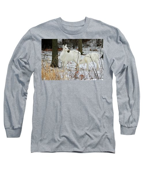 White Deer With Squash 2 Long Sleeve T-Shirt by Brook Burling