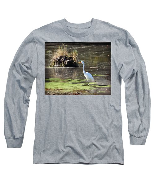 White Egret In The Shallows Long Sleeve T-Shirt