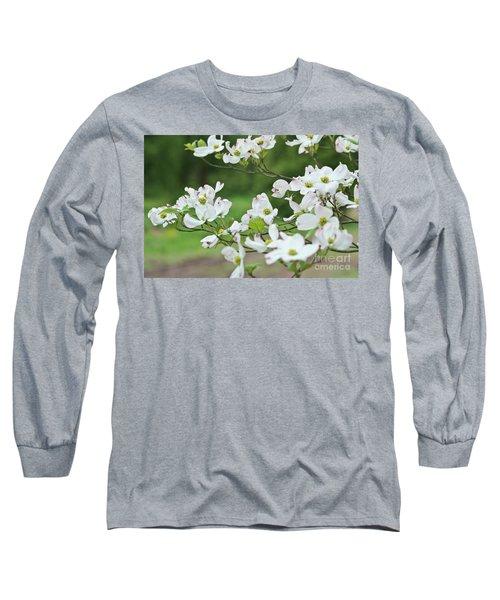 White Flowering Dogwood Long Sleeve T-Shirt by Ann Murphy