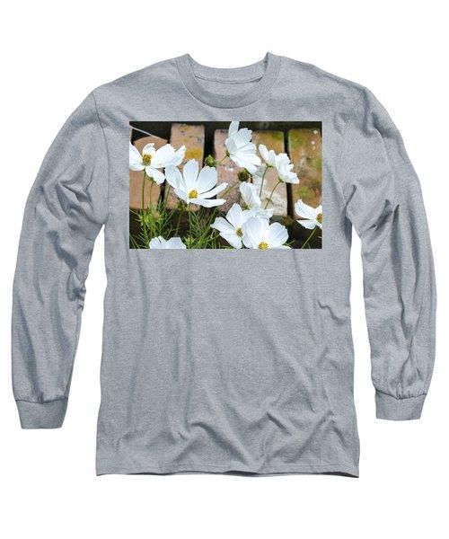 White Flowers Against Bricks Long Sleeve T-Shirt