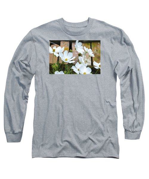 White Flowers Against Bricks Long Sleeve T-Shirt