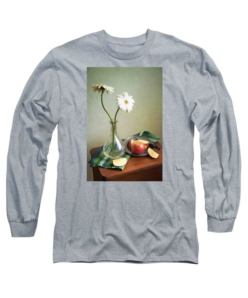 White Flowers And Red Apples Long Sleeve T-Shirt