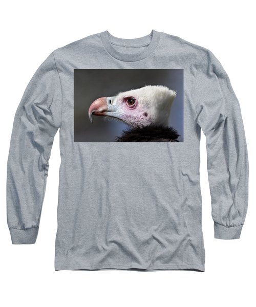 White-headed Vulture Portrait Long Sleeve T-Shirt by Aivar Mikko