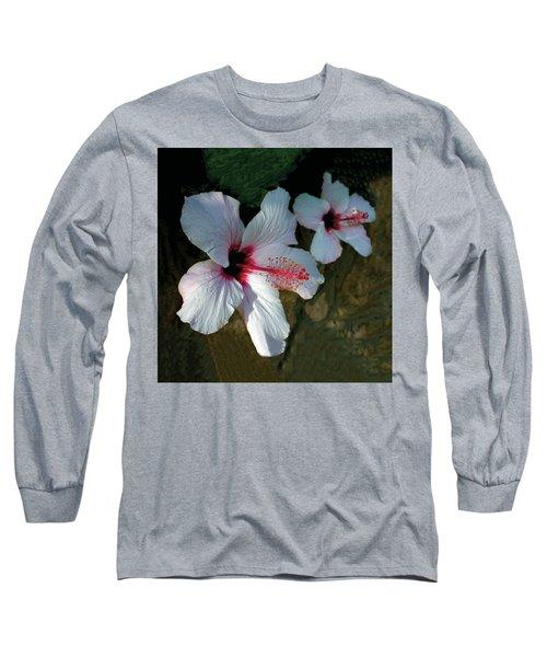 White Hibiscus Pair Long Sleeve T-Shirt