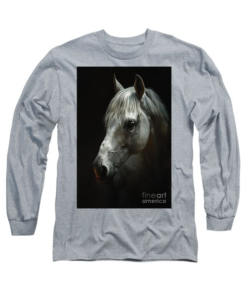White Horse Portrait Long Sleeve T-Shirt