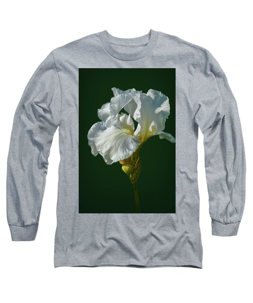 White Iris On Dark Green #g0 Long Sleeve T-Shirt