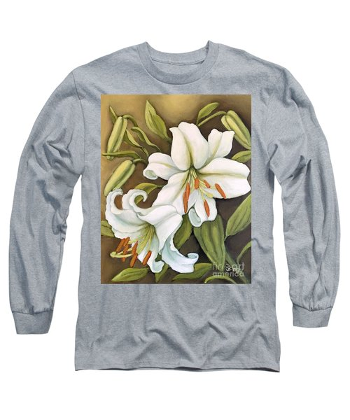 Long Sleeve T-Shirt featuring the painting White Lilies by Inese Poga