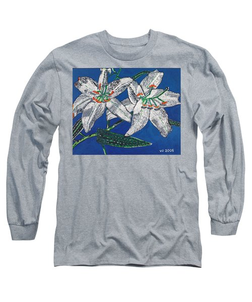 White Lilies Long Sleeve T-Shirt by Valerie Ornstein