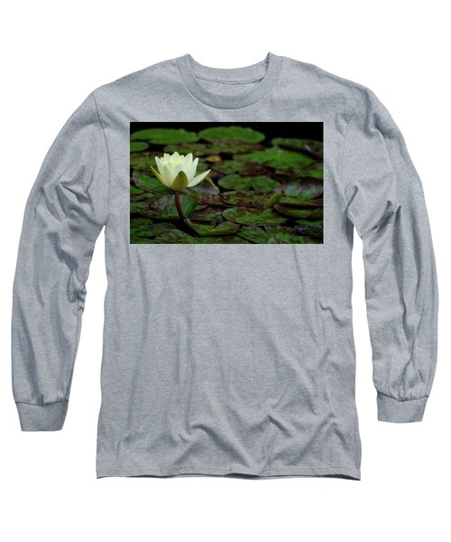 White Lily In The Pond Long Sleeve T-Shirt