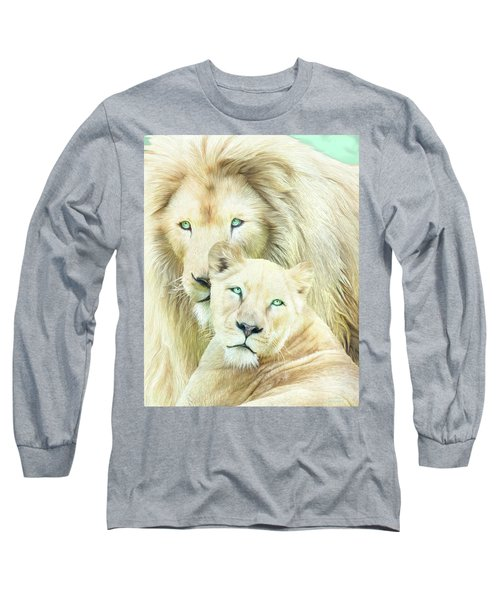 Long Sleeve T-Shirt featuring the mixed media White Lion Family - Mates by Carol Cavalaris