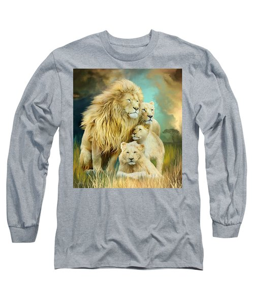 Long Sleeve T-Shirt featuring the mixed media White Lion Family - Unity by Carol Cavalaris