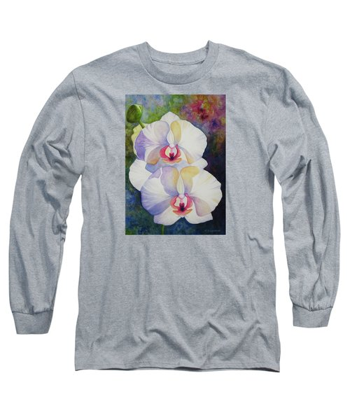 White Orchids Long Sleeve T-Shirt by Kerri Ligatich