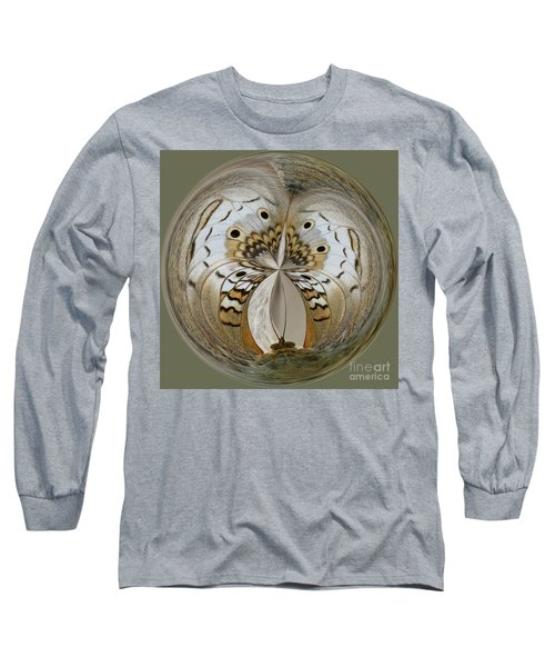 White Peacock Butterfly Orb Long Sleeve T-Shirt