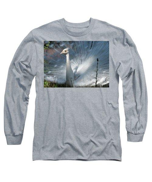 White Peacock Long Sleeve T-Shirt by Lamarre Labadie