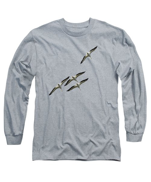 White Pelicans Transparency Long Sleeve T-Shirt by Richard Goldman
