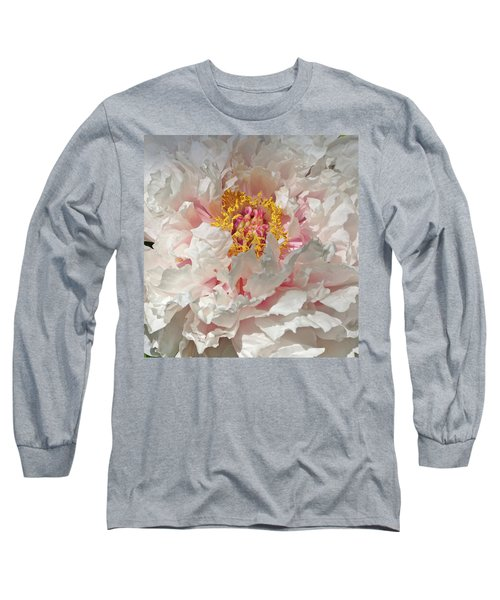 Long Sleeve T-Shirt featuring the photograph White Peony by Sandy Keeton