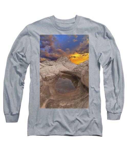 White Pocket Sunset Long Sleeve T-Shirt