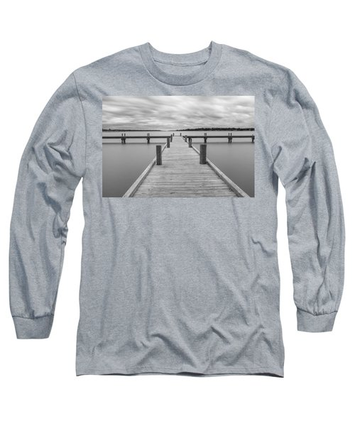 White Rock Lake Pier Black And White Long Sleeve T-Shirt