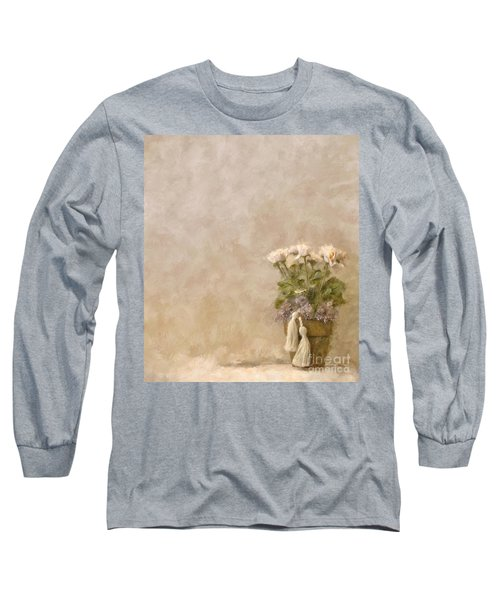 White Roses In Old Clay Pot Long Sleeve T-Shirt