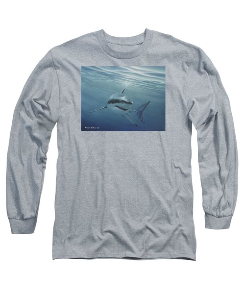 White Shark Long Sleeve T-Shirt by Angel Ortiz