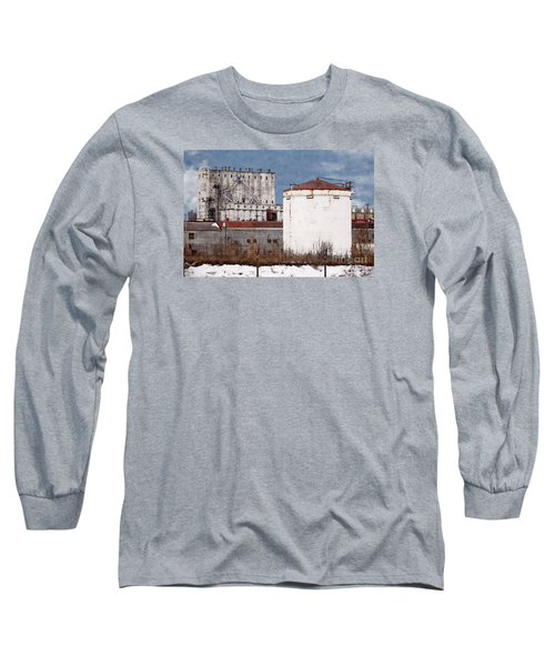 White Silo And Grain Elevator Long Sleeve T-Shirt by David Blank