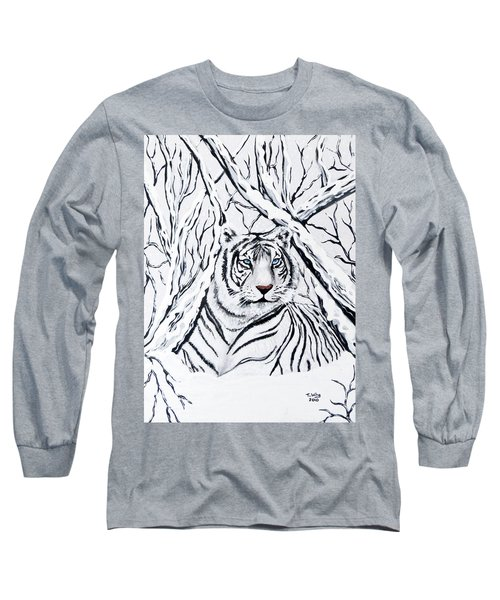 White Tiger Blending In Long Sleeve T-Shirt by Teresa Wing